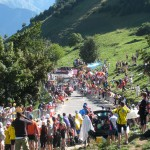 Carlos Sastre climbing Alpe d' Huez during the 2008 TDF