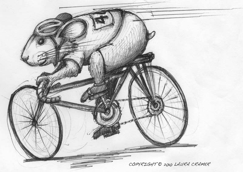 My sister created this illustration for me of a pika riding a bike.