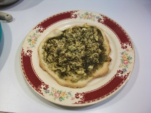 Pizza with pesto and tofu